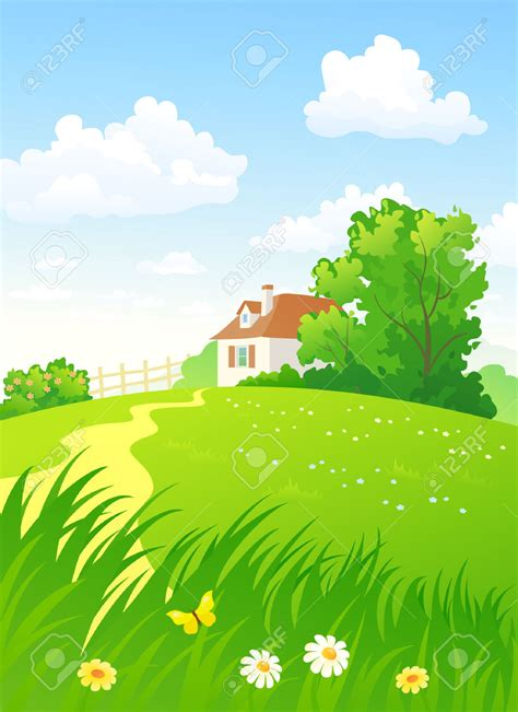 Country Clipart by Country Clipart Countryside Pencil And In Color Country