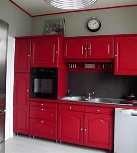Cuisine rouge rustique for Idee deco cuisine avec cuisine rustique