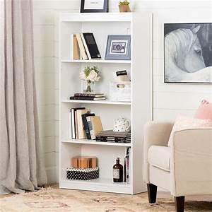 South, Shore, 4, Shelf, Contemporary, Bookcase, In, Pure, White