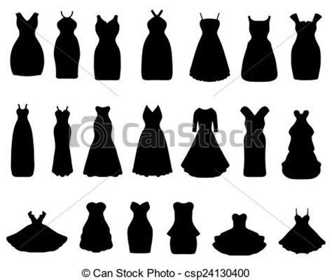 black silhouettes  cocktail dresses vector illustration