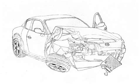 Crashed Rx-8 Lineart By Lew-gtr On Deviantart