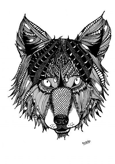 Volwassen Kleurplaat Wolf by Free Coloring Page For Adults Wolf With Doodles