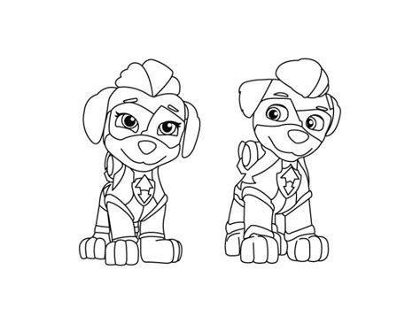 Ausmalbilder mighty pups sky : Mighty Twins - Paw Patrol Coloring Page - DRAKL