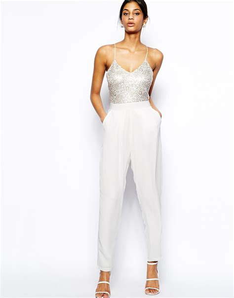 white jumpsuits for tfnc cami jumpsuit with sequin embellished bodice in white