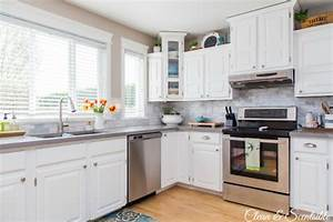 white kitchen reveal home tour clean and scentsible With what kind of paint to use on kitchen cabinets for set of two wall art