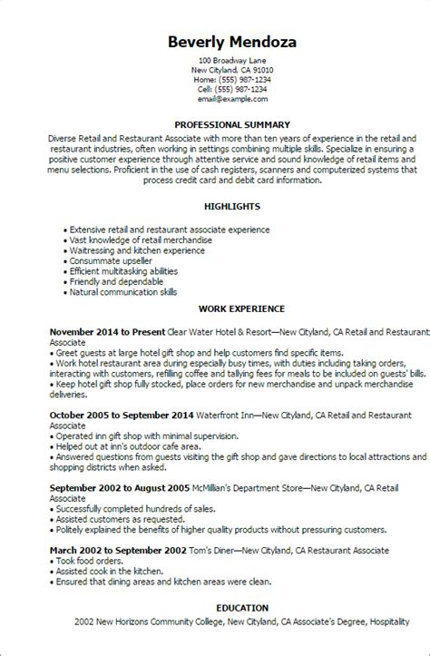 retail  restaurant associate resume templates