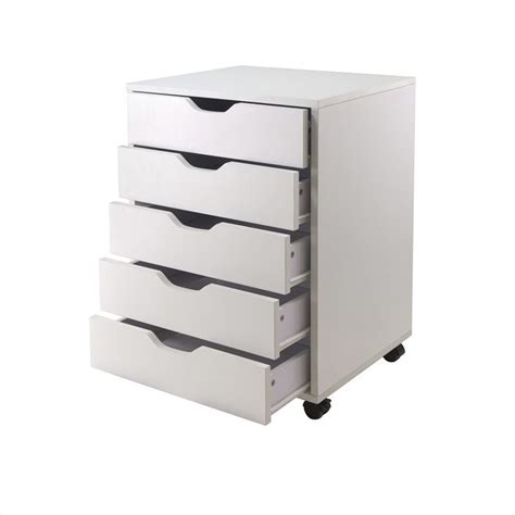 drawer wood mobile filing cabinet  white