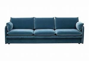Vintage peacock blue velvet sofa on onekingslanecom for Vintage velvet sectional sofa