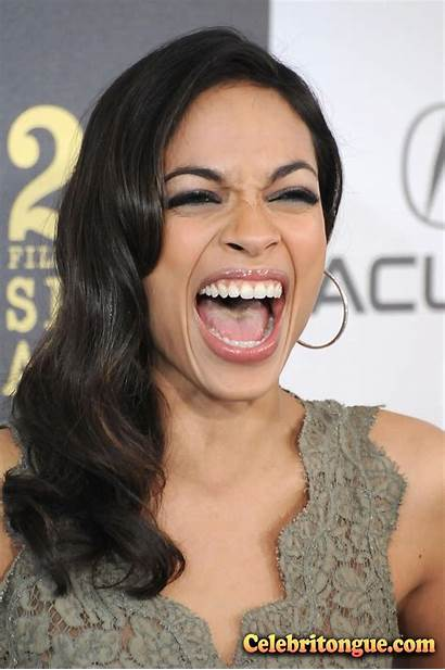 Rosario Dawson Celebritongue Tongue Mouth Sticking