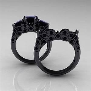 designer classic 14k black gold three stone princess black With black gold diamond wedding ring