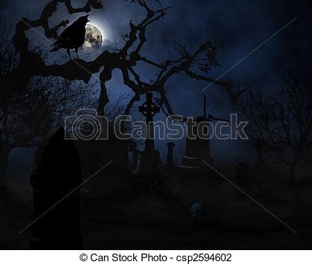 halloween scary night scene  graveyard illustration