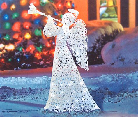 flocked trumpeting angel lighted christmas yard art