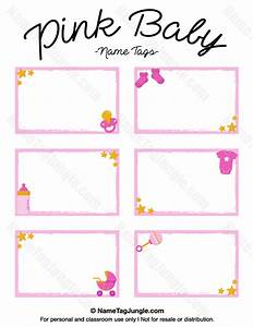 free printable pink baby name tags the template can also With baby shower place cards template