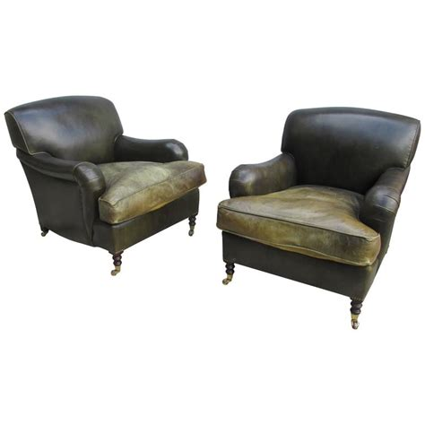 George Smith Armchair by George Smith Pair Of Medium Std Armchairs In Green