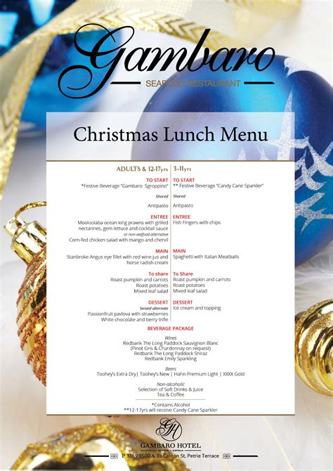 christmas day lunch 2016 at gambaro hotel book now