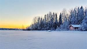 Full HD Wallpaper snow house lake forest, Desktop ...