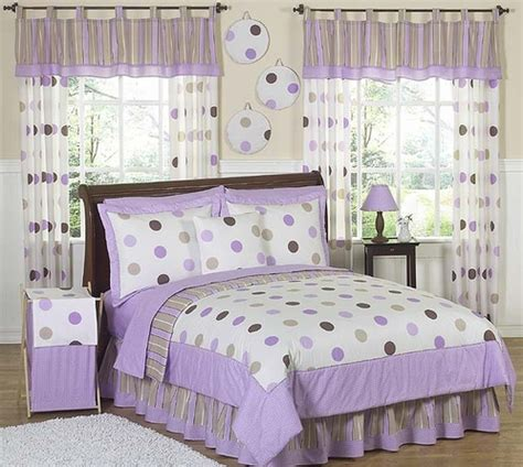 purple and brown modern dots bedding 3 pc