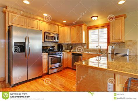 golden maple beautiful cabinets kitchen stock image