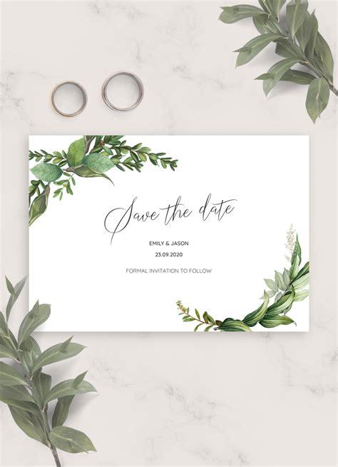 printable green floral wedding save  date card