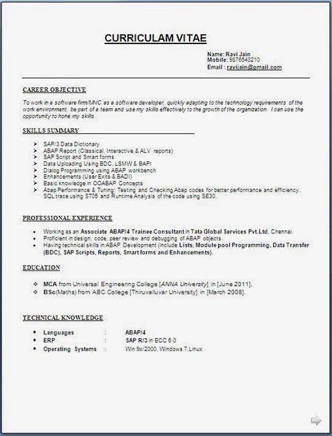 mca resume format for freshers pdf resume templates