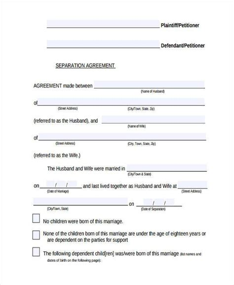 ontario separation agreement template 7 separation agreement form sles free sle exle format