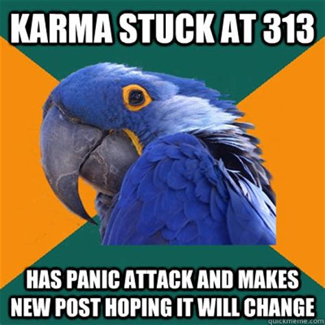 Panic Attack Meme - karma stuck at 313 has panic attack and makes new post hoping it will change paranoid parrot