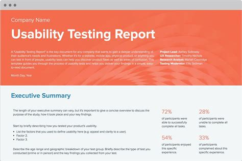usability testing report template  examples usability
