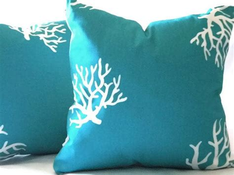 Turquoise Toss Pillows by Decorative Turquoise Coral Pillow Cover Indoor By Micablue