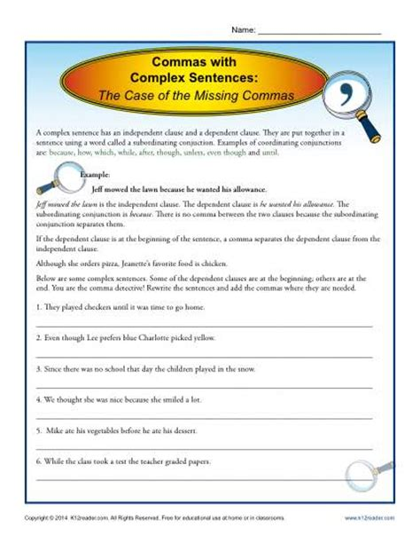 commas with complex sentences comma worksheets