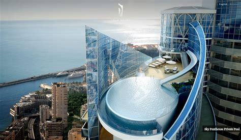 monaco penthouse outdoor rooftop infinity pool  ocean views interior design ideas