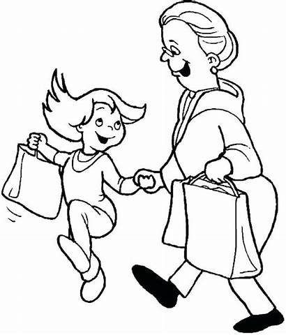 Mall Shopping Coloring Pages Cart Getcolorings Printable