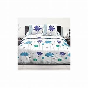 Parure Lit 220x240 : parure de lit polycoton 220x240 cm 3pcs flora bleu pas cher ~ Teatrodelosmanantiales.com Idées de Décoration