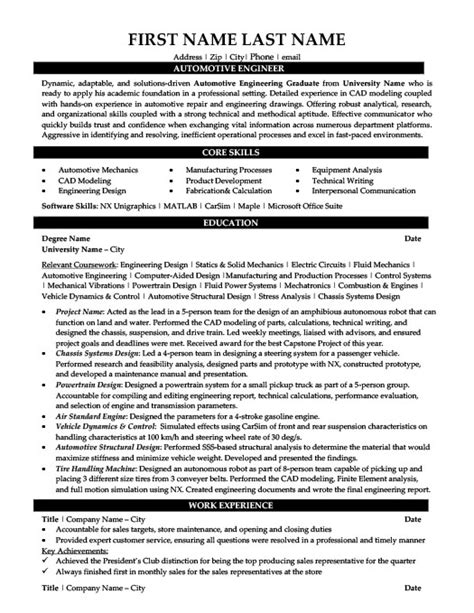 Automotive Engineer Resumes by Automotive Apprentice Resume Template Premium Resume
