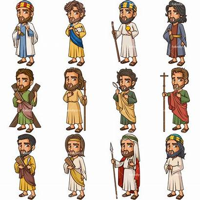 Disciples Jesus Christ Apostles Cartoon Clipart Vector