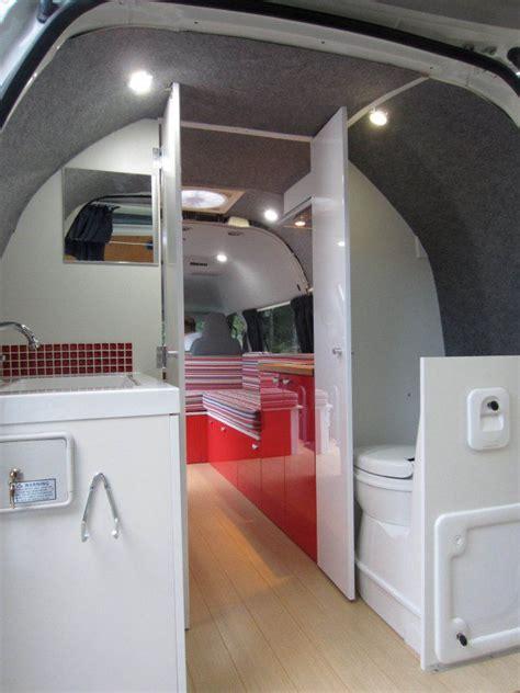 Camper van wooden bathroom shower curtain transportation stock image. Best campervan conversion   Camper interior design, Diy campervan