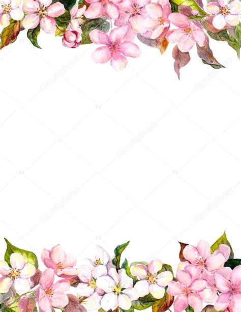 rosa blueten apfel kirschbluete blumenrahmen fuer