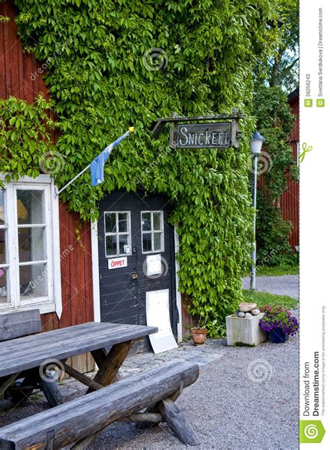 old fashioned wall ls woodwork shop in sweden editorial stock photo image