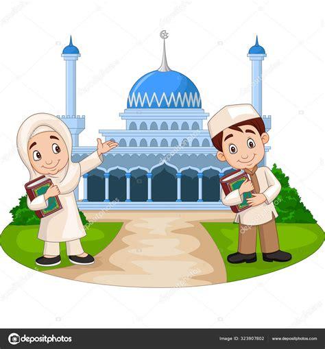 61 galeri gambar kartun anak pergi ke masjid sketsa