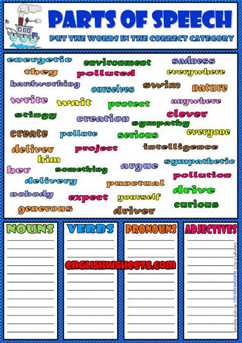 parts  speech classifying esl exercise worksheet