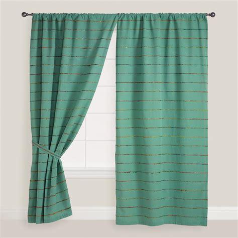 world market curtains blue striped chambray sari curtain world market