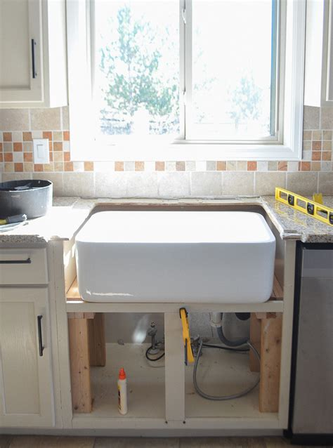 how to install a farmhouse kitchen sink kitchen progress installing the farmhouse sink 9415
