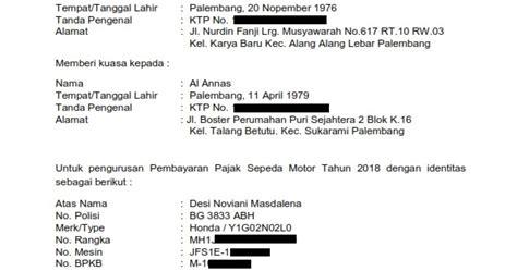 Contoh surat kuasa pengambilan bpkb. Contoh Surat Kuasa Untuk Bayar Pajak Kendaraan Bermotor - Kumpulan Contoh Surat dan Soal Terlengkap