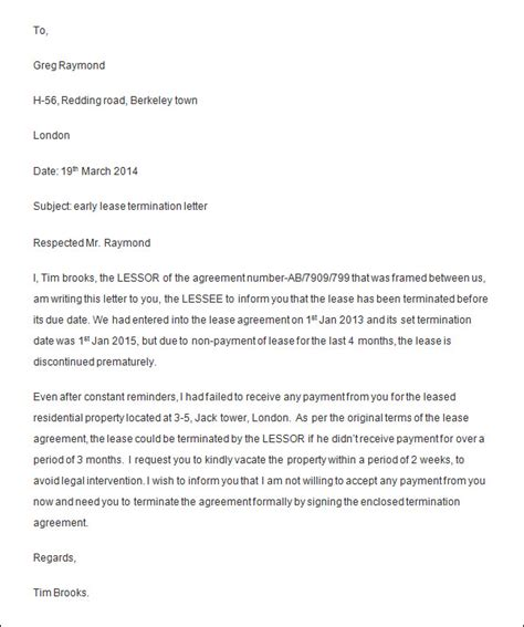 early lease termination letter sle letter for early termination of lease from landlord
