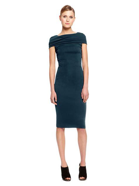 draped sleeve dress donna karan new york draped cap sleeve dress in blue teal