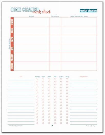 Cleaning Worksheet Weekly Printable Plan Checklist Sheet