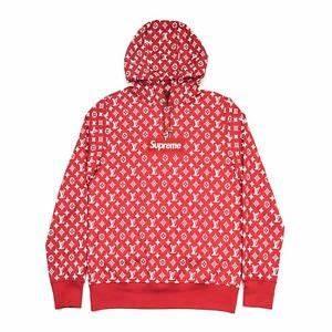 100 authentic new supreme x louis vuitton monogram box logo hoodie red  1a3fbu ebay d8b4c71965f8d