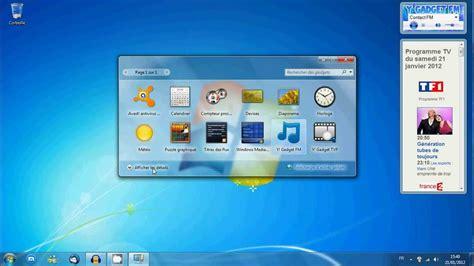 gadgets de bureau windows 7 gratuit gadget de bureau comment afficher les gadgets windows 7