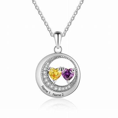 Necklace Silver Birthstone Custom Engraved Pendant Birthstones