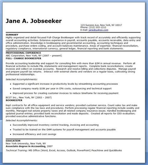 Bookeeper Resume by Bookkeeper Resume Sle Summary Creative Resume Design