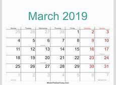 March 2019 Calendar PDF printable yearly calendar